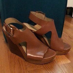 Size 7M Michael Kors wedge platform sandals